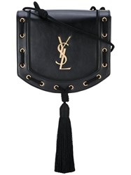 Saint Laurent Woven Tassel Crossbody Bag Women Leather One Size Black