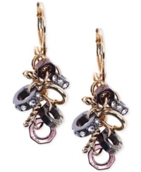 Jones New York Gold Tone Cluster Crystal Link Drop Earrings