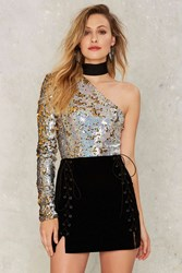 Jaded London Choke Signals Sequin Bodysuit Gold