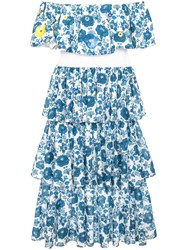 All Things Mochi Natalia Floral Print Tiered Midi Dress Cotton Polyester Blue