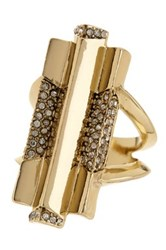 House Of Harlow Pave Crystal Defined Art Deco Ring Size 6 Metallic