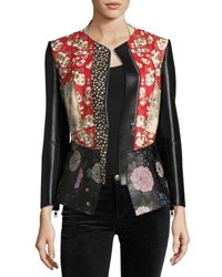 Alexander Mcqueen Floral Patchwork Leather Jacket Black Pattern