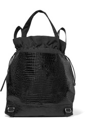 Elizabeth And James Keely Croc Effect Glossed Leather Shell Backpack Black