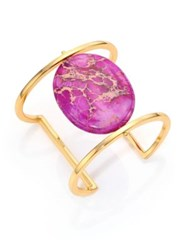 Nest Purple Jasper Cabochan Cuff Bracelet Gold Purple Jasper
