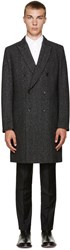 Paul Smith Black Wool Herringbone Coat