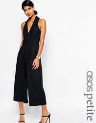 Asos Petite Sleeveless Jumpsuit In Linen Navy