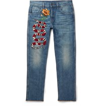 Gucci Slim Fit Embroidered Stonewashed Denim Jeans Mid Denim