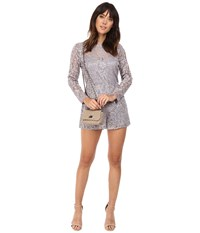 Bb Dakota Crescent Lace Romper Silver Women's Jumpsuit And Rompers One Piece