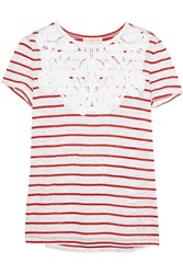 Tory Burch Amanda Embroidered Striped Linen T Shirt