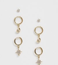 Reclaimed Vintage Inspired Earrings Multipack With Moon And Star Gold