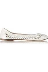 Bloch Lila Woven Leather Ballet Flats White