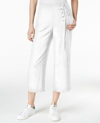 Rachel Roy Cropped Lace Up Pants White