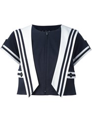 Dolce And Gabbana Sailor Style Cropped Jacket Blue