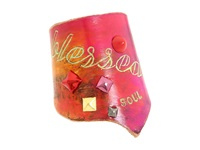 Leather Couture By Jessica Galindo Classic Freeform Cuff Blessed Soul Pink Orange Bracelet