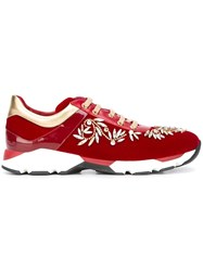 Rene Caovilla Bejewelled Sneakers Red