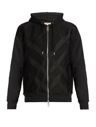 Burberry Checked Jacquard Hooded Sweatshirt Black