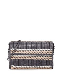 Nancy Gonzalez Woven Colorblock Crocodile Shoulder Bag Multi
