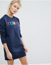 Tommy Jeans Multi Colour Logo Sweat Dress Navy