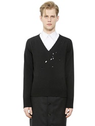 Givenchy Destroyed Wool Jacquard Sweater Black