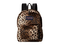 Jansport High Stakes Black Beige Plush Cheetah Backpack Bags Animal Print