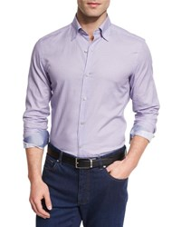 Ermenegildo Zegna Pill Print Long Sleeve Sport Shirt Purple