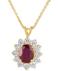 Macy's Ruby 2 1 5 Ct. T.W. And Diamond 1 Ct. T.W. Pendant Necklace In 14K Gold Red