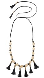 Kate Spade Moroccan Tile Tassel Statement Necklace Black