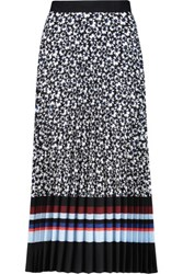 Mother Of Pearl Kitty Printed Plisse Crepe De Chine Skirt Navy