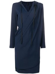 Unravel Project Wrap Hoodie Dress Blue