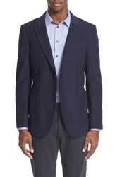 Armani Collezioni Men's Trim Fit Techno Velvet Sport Coat Blue