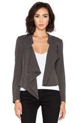 Bobi Black Knit Boucle Wrap Cardigan Charcoal