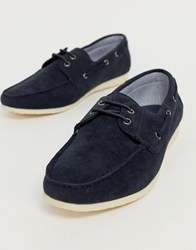 New Look Faux Leather Boat Shoes In Navy
