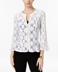 Inc International Concepts Lace Peplum Jacket Only At Macy's Bright White
