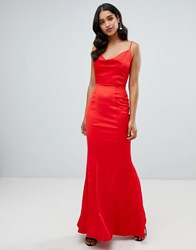 Lipsy Cowl Neck Maxi Dress In Red Red