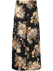 Liu Jo Floral Print Wide Trousers Black
