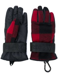 Dsquared2 Padded Checked Gloves Polyester Wool Black