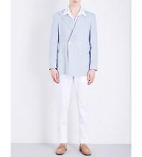 Richard James Double Breasted Linen And Wool Blend Jacket Sky