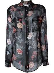 Equipment Semi Sheer Floral Print Blouse Black