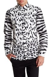 Moschino Long Contrast Sleeve Pattern Shirt White