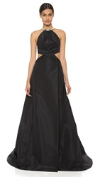 Kaufman Franco Crossover Ball Gown With Metal Collar Onyx