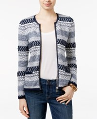 Tommy Hilfiger Ricki Faux Leather Trim Knit Cardigan Masters Navy Multi