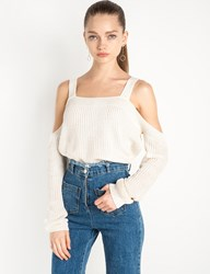Pixie Market Ivory Shoulder Strap Knit Sweater