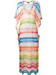 Missoni Flutter Sleeve Knit Maxi Dress Multicolour