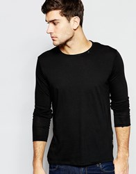 Replay Long Sleeve Top Crew Neck Raw Edge In Washed Black Black