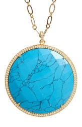 Susan Hanover Women's Large Semiprecious Stone Pendant Necklace Turquoise Gold