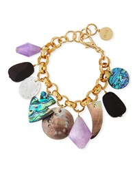 Nest Mother Of Pearl And Amethyst Charm Bracelet White