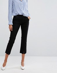 Evidnt Split Detail Crop Jeans Black