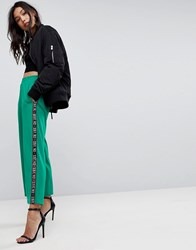 Asos Premium Scuba Wide Leg Joggers With Printed Side Tape Green