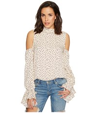 Bishop Young Cold Shoulder Sleeve Detail Top White Print Women's Clothing