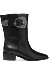 Loewe Buckled Leather Ankle Boots Black